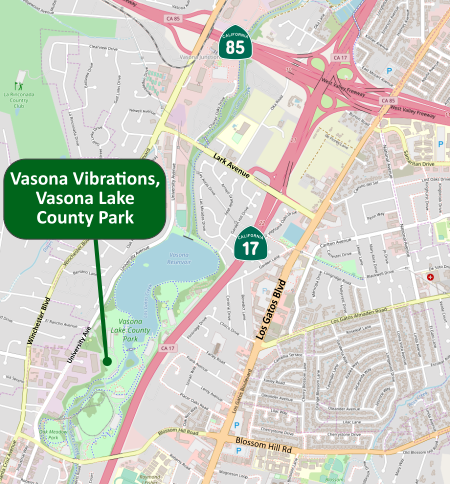 Road Map of the Vasona Lake county Park area.